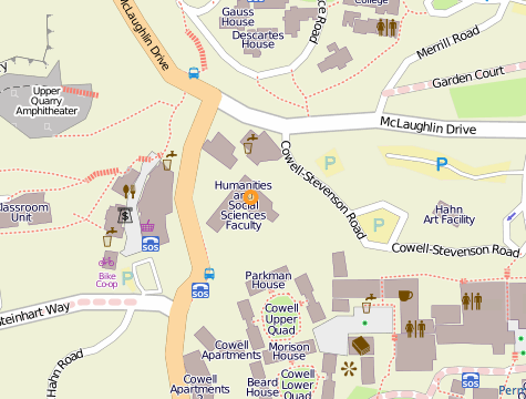 a campus map of the location of the Humanities 1 building